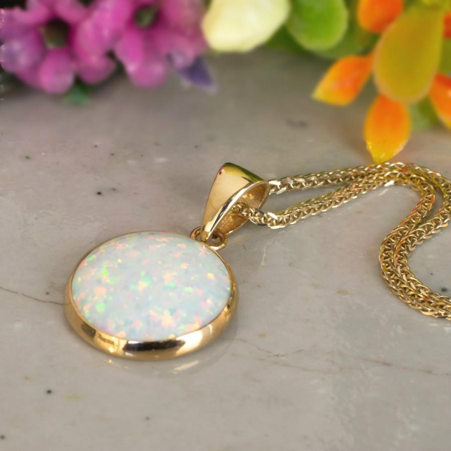 Wedding - White Opal Necklace, 14K Gold Necklace, Opal Charm, Dainty Necklace, Gemstone Necklace, Bridal Jewelry, Wedding Jewelry