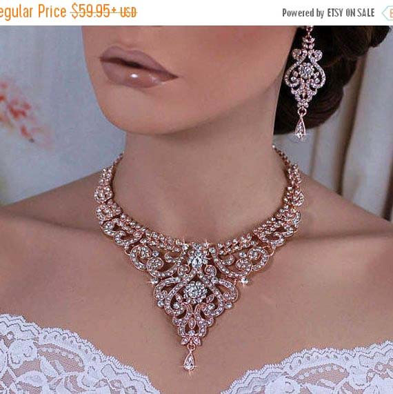 Wedding - ROSE GOLD or Silver Bridal Wedding Necklace Earrings Set Bride Accessories Weddings Party Prom Pageant Back Drop Jewelry Crystal Accessory
