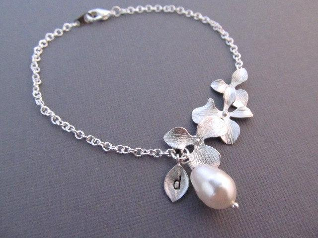 Wedding - Personalized Flower Bracelet with Teardrop Pearl and Initial Leaf Charm, Silver Orchid Flowers Jewelry, Gift for Bridesmaid Wedding Bridal