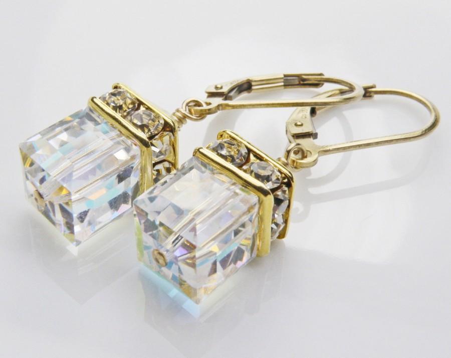 Wedding - Clear Crystal Earrings, Drop Swarovski Cube, Gold Filled, Modern Wedding, Bridal Party, Bridesmaid Gift, Handmade Jewelry