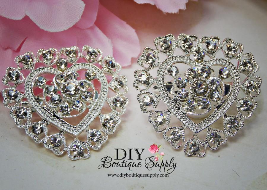 Mariage - 2 pcs Hearts Rhinestone Brooch Crystal Brooches Embellishment for Brooch Bouquet Crystal Wedding Bridal Accessories  32mm 864092