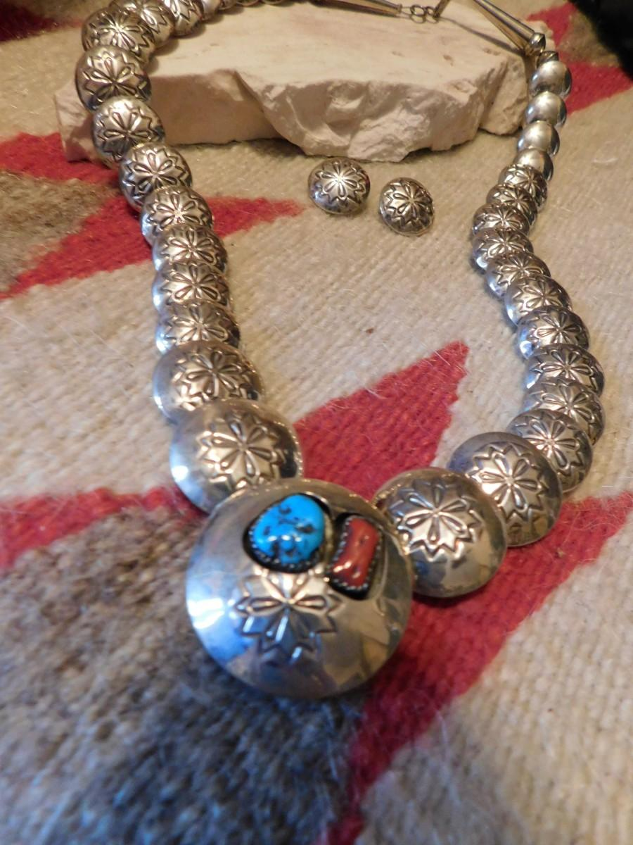 Turquoise Necklace Sterling Silver Native American Jewelry