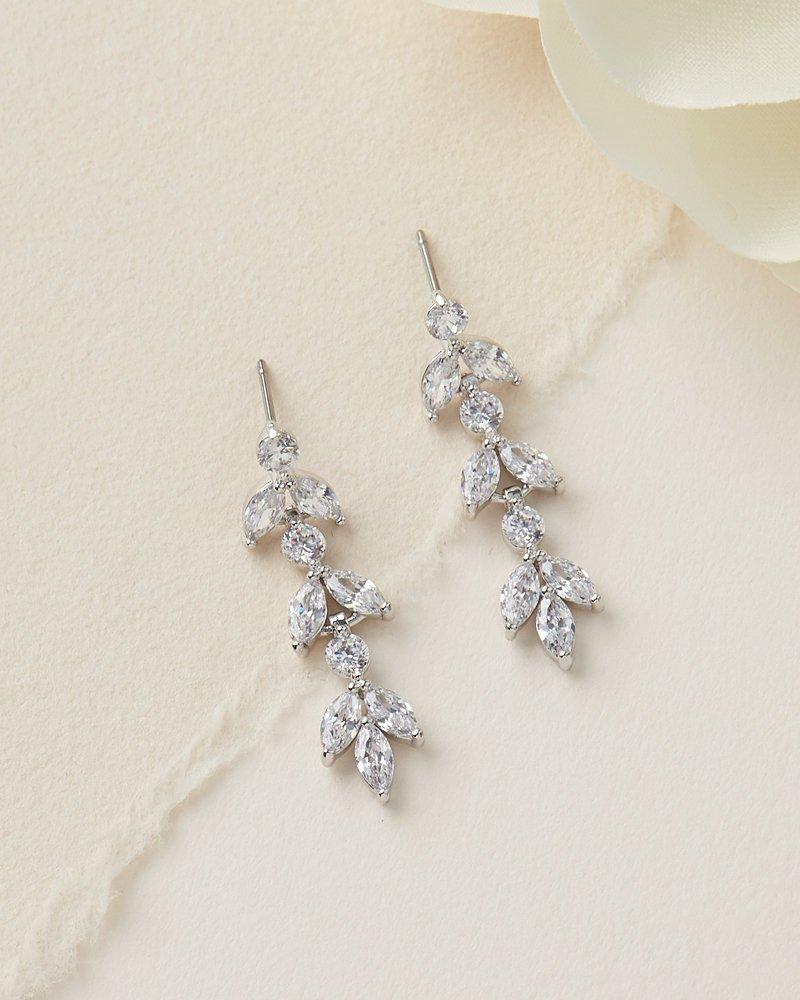 Wedding - Silver Bridal Earrings, CZ Wedding Earrings, CZ Earrings, Silver Earrings, Rhinestone Earrings, Earrings, Bridesmaid Earrings ~ JE-4140