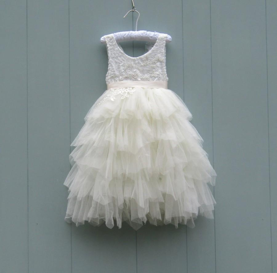 زفاف - Ivory tulle flower girl dress Lace dress Toddler dress Tulle flower girl dress Tutu dress Rustic flower girl First Birthday dress Baby dress