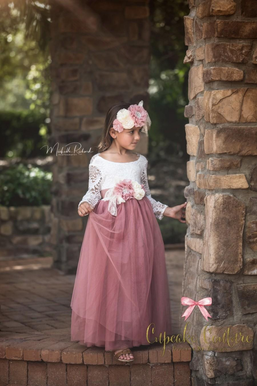Hochzeit - Flower girl dress, photography prop, mauve pink dress, lace flower girl dress, lace flower girl dress, bohemian flower girl dress