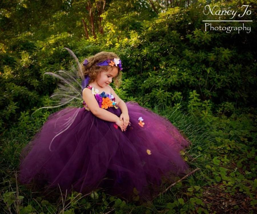 Wedding - Plum Woodland Fairy Flower Girl Dress / Plum Fairy Flower Girl Dresses / Princess Dress / Fairy Dress / Prom Dress / Formal Dress / Wedding