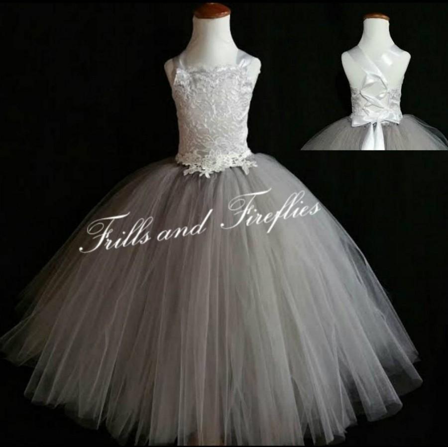 Hochzeit - Grey Corset Flower Girl Dress / Silver Grey Bridesmaid Dress / Prom Dress / Formal Dress / Princess Dress / Girls Dresses / Wedding Dress