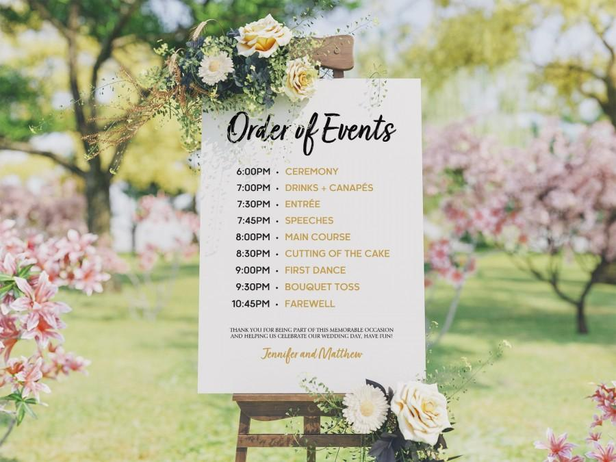 Mariage - Wedding Program Template - Order of Events Sign - Wedding Schedule -  Wedding Timeline Template - Wedding Program Sign