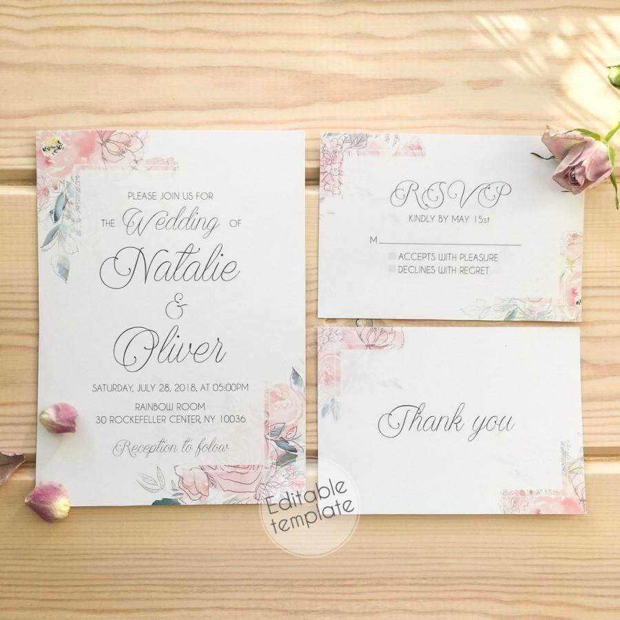 Hochzeit - Blush Floral Wedding Invitation Printable Blush Pink Wedding Invitation Set Dusty Blue Wedding Invitations PDF Wedding Invitations with RSVP