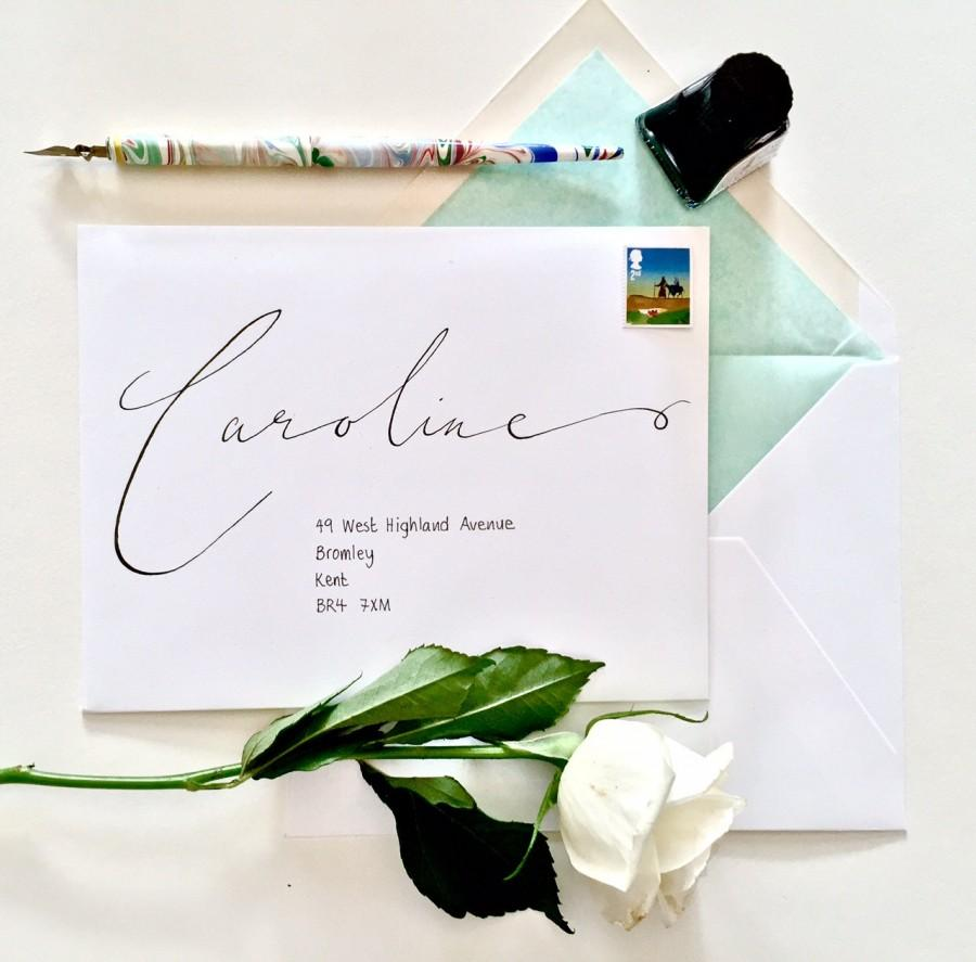 Hochzeit - Whimsical Modern Calligraphy Handwritten Envelopes, Envelope Addressing, Calligraphy Envelopes, Handwritten Wedding