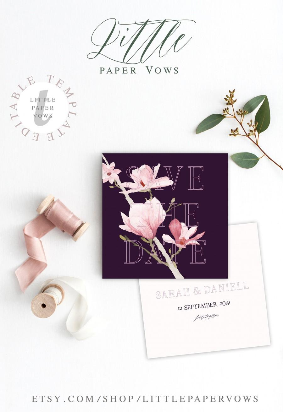 Hochzeit - Plum Save The Date editable template, Purple Wedding, Purple Invitation with Orchid Pink flowers, Boho Save the date, Marsala Wedding