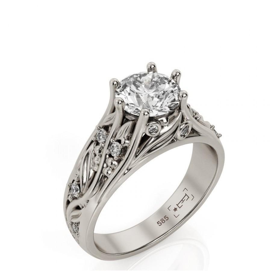 Mariage - Leaves Engagement Ring, 1ct Moissanite engagement ring, Vines Engagement ring, Leaf engagement ring, Filigree engagement ring, 2057kob