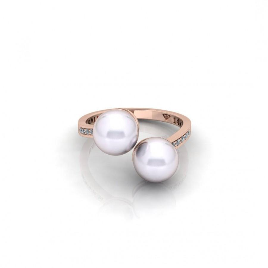 Mariage - Pearl Engagement Ring Rose Gold Vintage Unique Antique Art Deco Inspiration 14k gold Wedding Diamond minimalist Bridal Women Promise gift