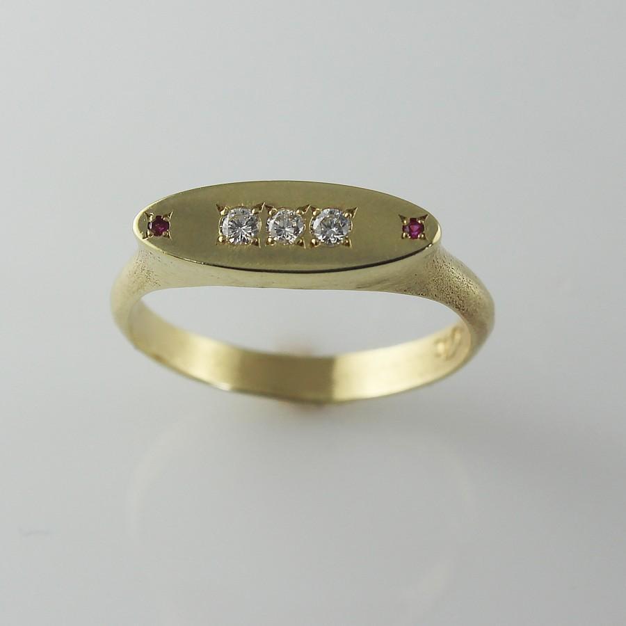 Mariage - Diamond Pinky Ring,Diamond Engagement Ring,Handmade Engagement Ring,Ruby Gemstone Ring,Gold Diamonds Ring,Ruby Engagement Ring,Mineral Stone