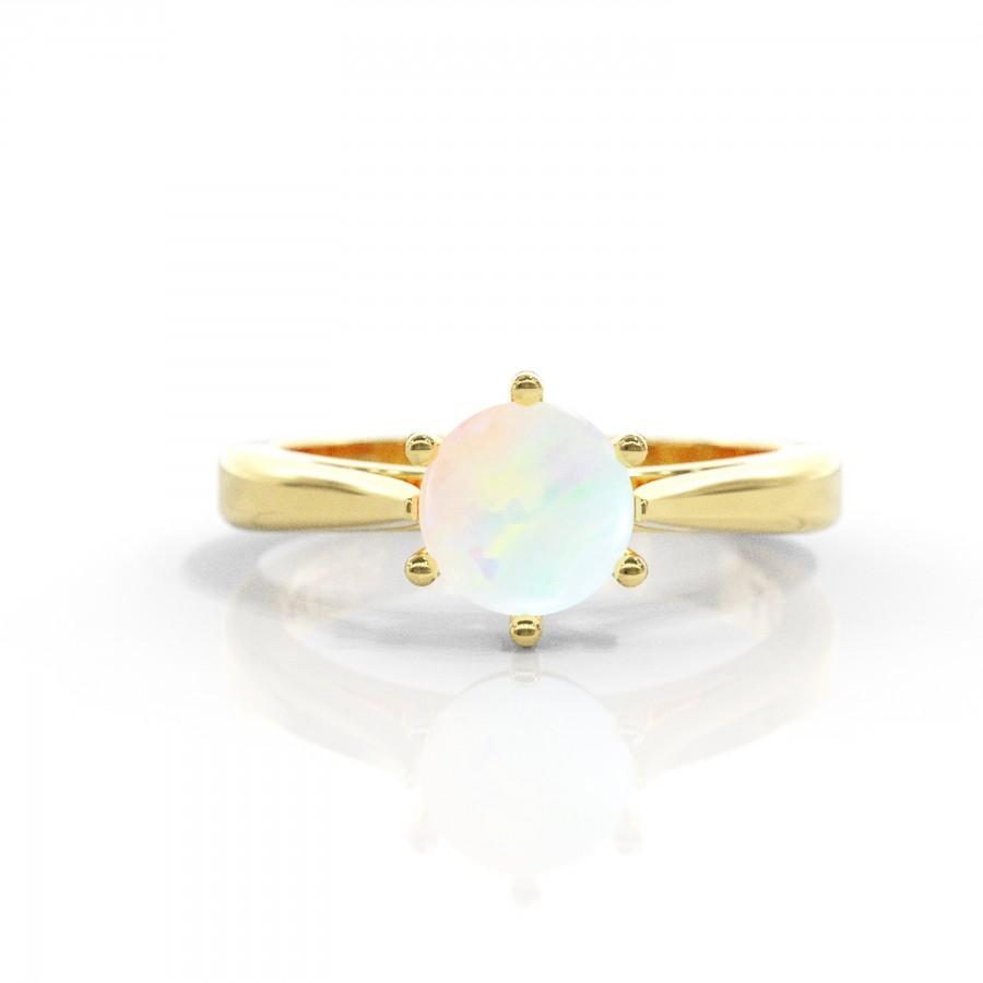 Свадьба - Opal ring opal engagement ring alternative engagement ring opal ring gold opal jewelry birthstone Unique 14k gold minimalist promise gift
