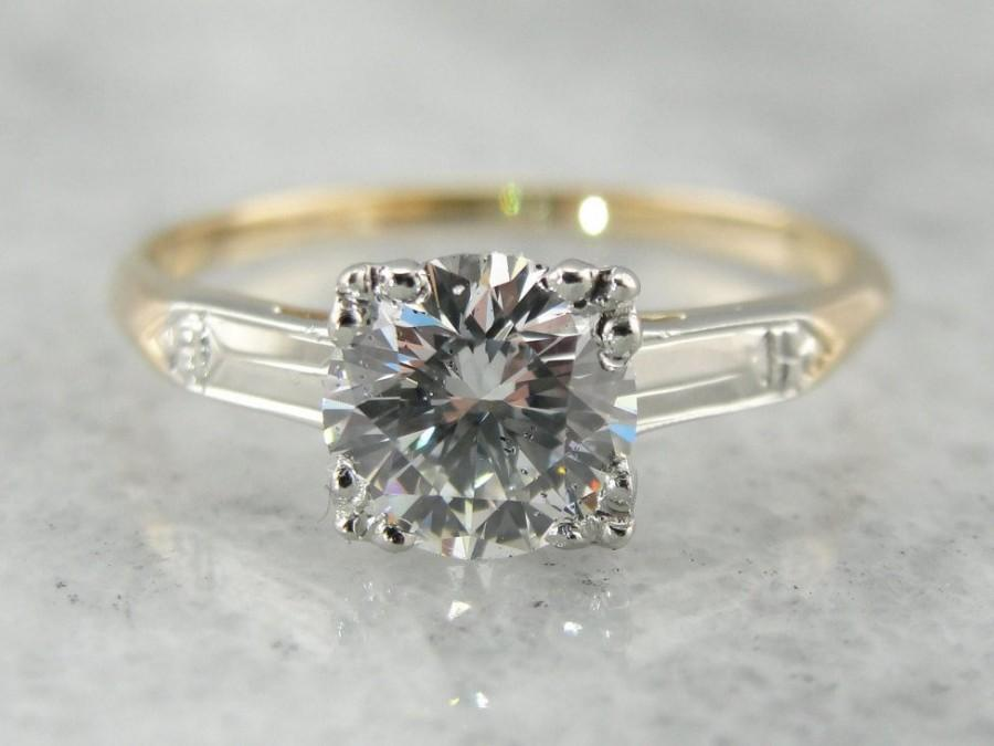 Hochzeit - Fine Vintage Diamond Ring: Spectacular One Carat Diamond Solitaire Retro Era Engagement Ring 6VQ783-R