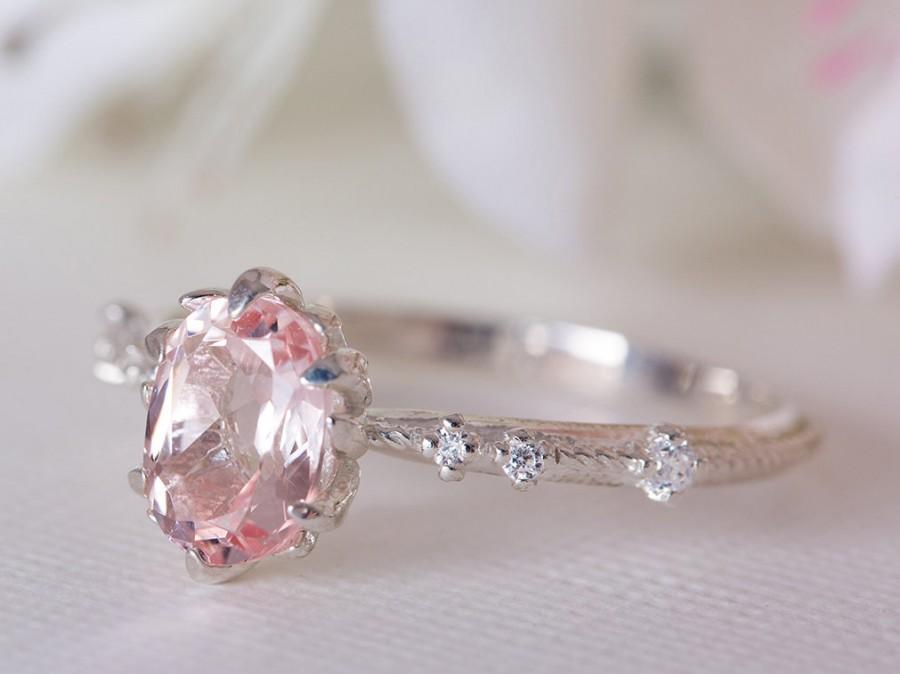 Свадьба - Morganite Engagement Ring, Morganite Diamond Ring, Morganite 14K Ring, Rose Gold Morganite Bridal Ring, 18K Morganite Engagement Ring