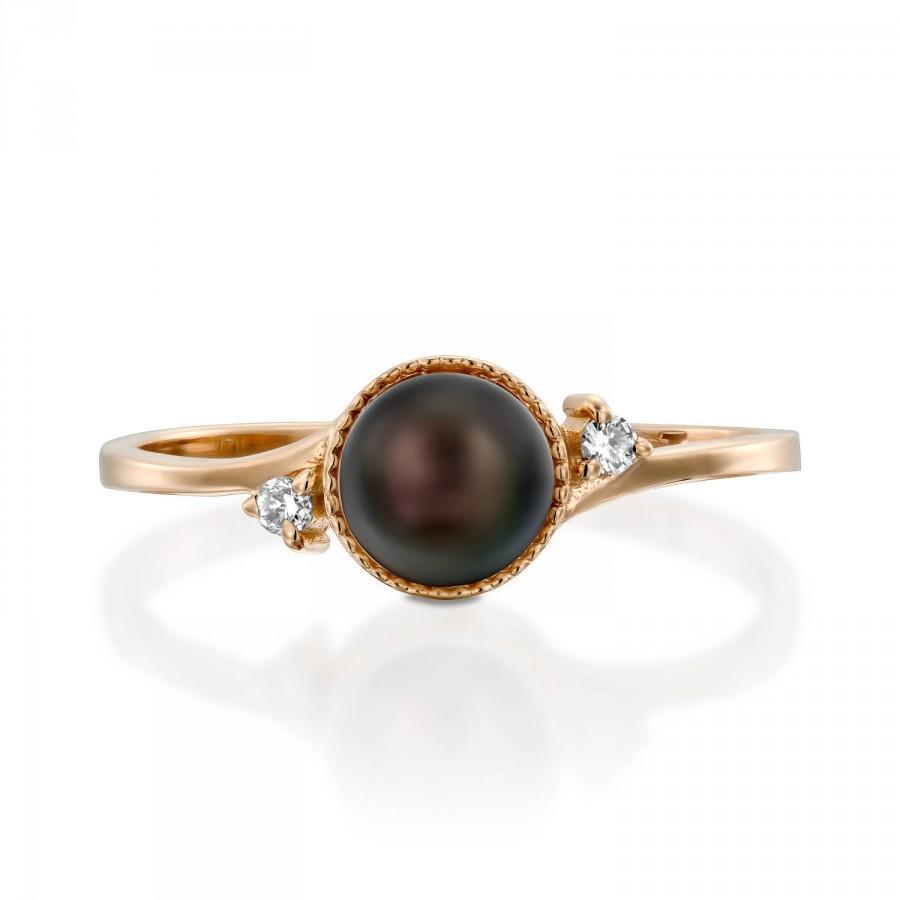 Wedding - Black Pearl Engagement Ring, Pearl Wedding Ring, Rose Gold Engagement Ring, Vintage Style Ring, Unique Engagement Ring, Wedding Ring Diamond