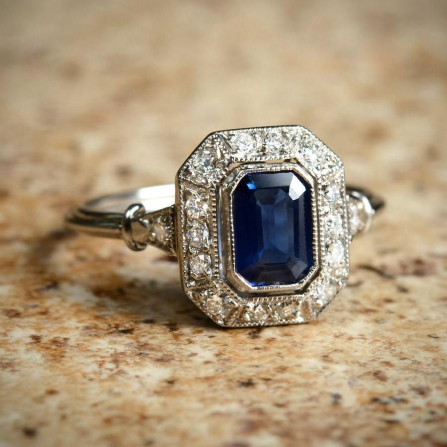 Wedding - Blue Natural Sapphire Diamond Halo and Platinum Ring