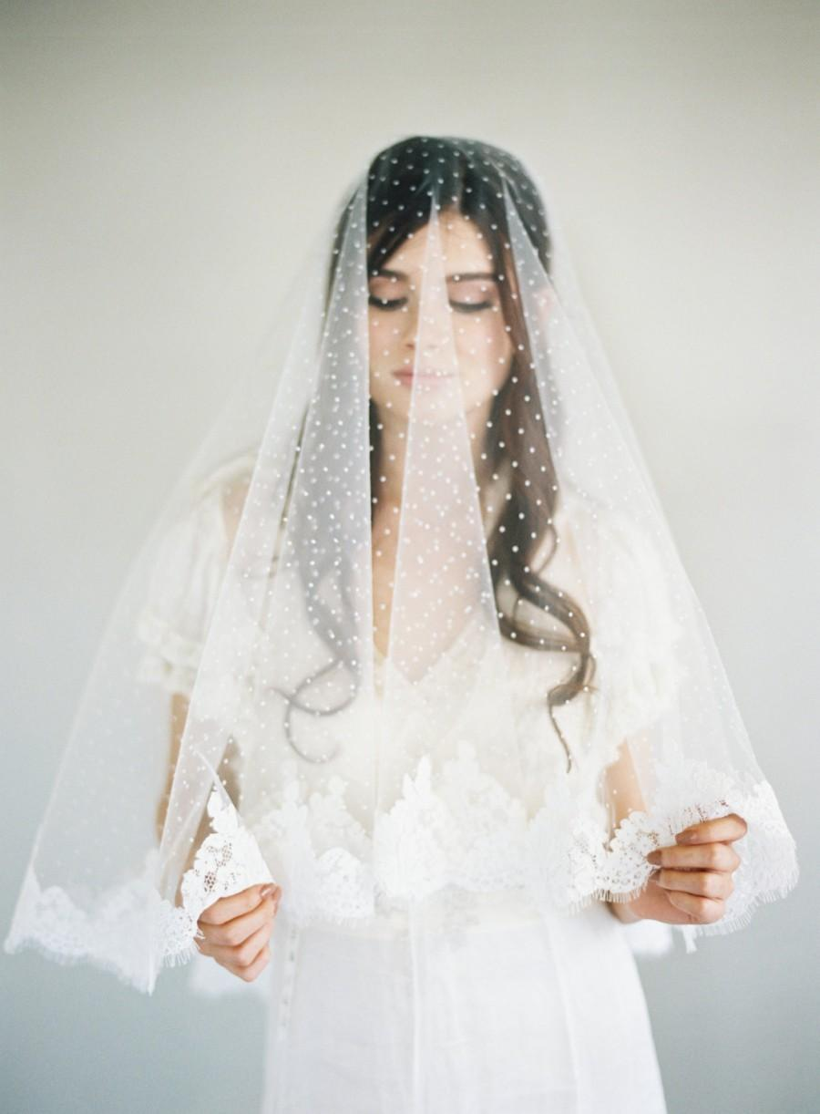 Wedding - Chantilly Lace Veil, Bridal Veil, Polka Dot Veil, Swiss Dot Veil, French Lace Veil, Drop Lace Veil, Blusher Lace Veil, Two Layer Veil, 1630