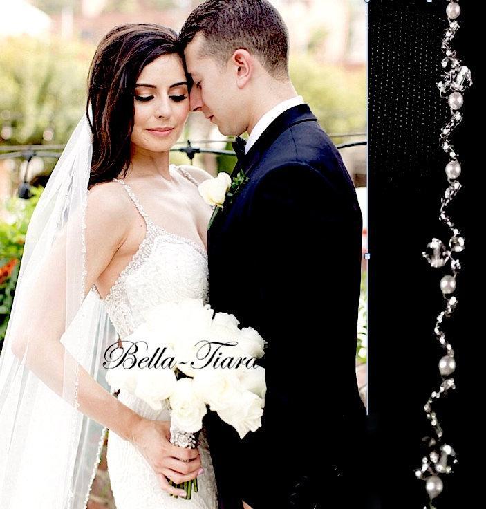 Wedding - crystal wedding veil, pearl crystal edge veil, crystal cathedral wedding veil, beaded cathedral wedding veil, crystal wedding veil