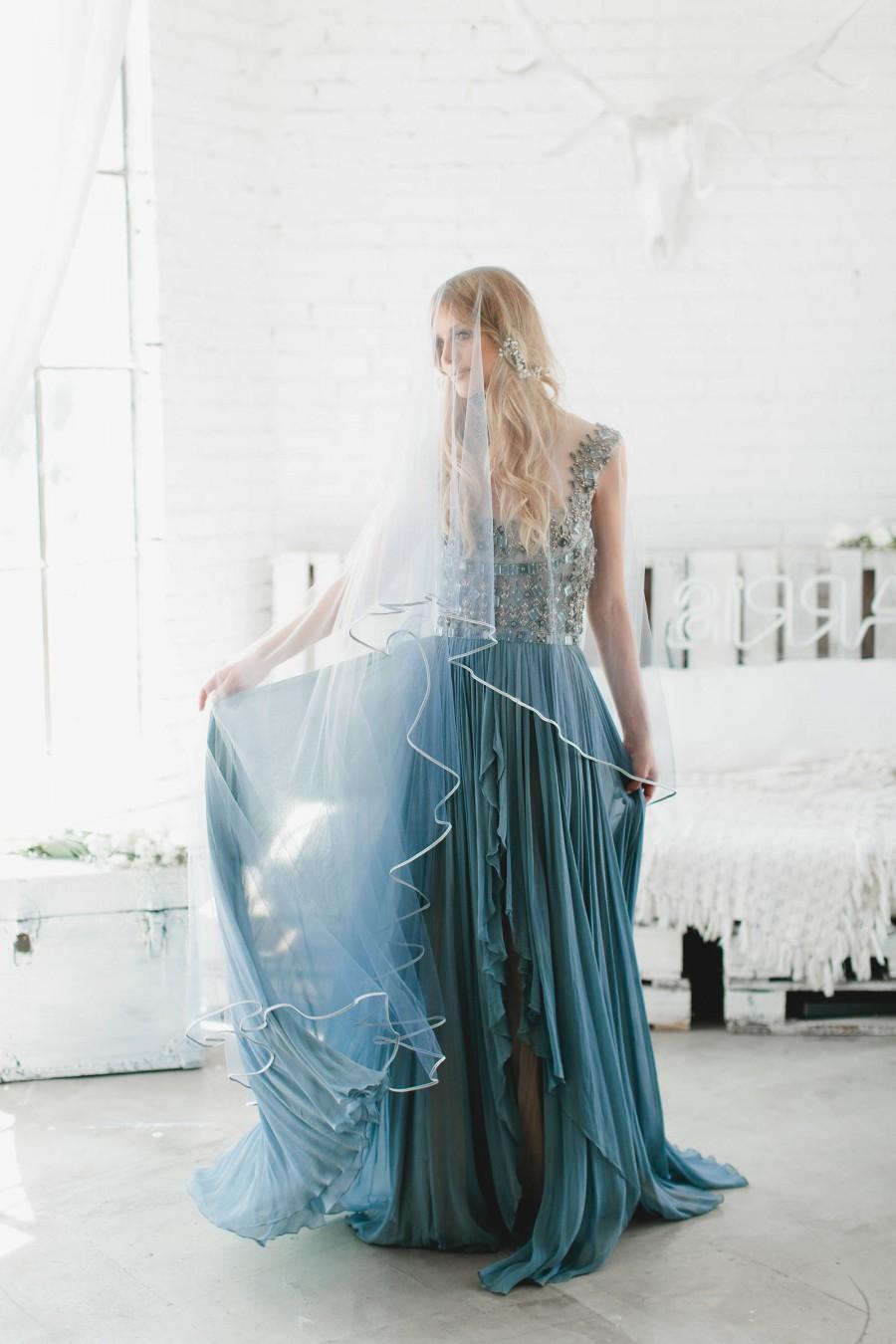 Wedding - Wedding Veil, Drop Veil, Bridal Veil, Blue Ombre' Veil, Two Tier Veil, Pencil Edge Veil Hand Dyed Veil Fingertip Length Cathedral Veil, 1711