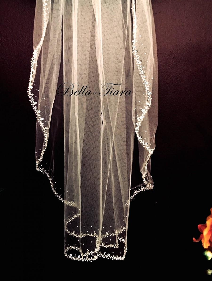 Wedding - cathedral beaded wedding veil, cathedral veil, cathedral beaded veil, crystal cathedral veil, cathedral crystal edge veil, beaded edge veil