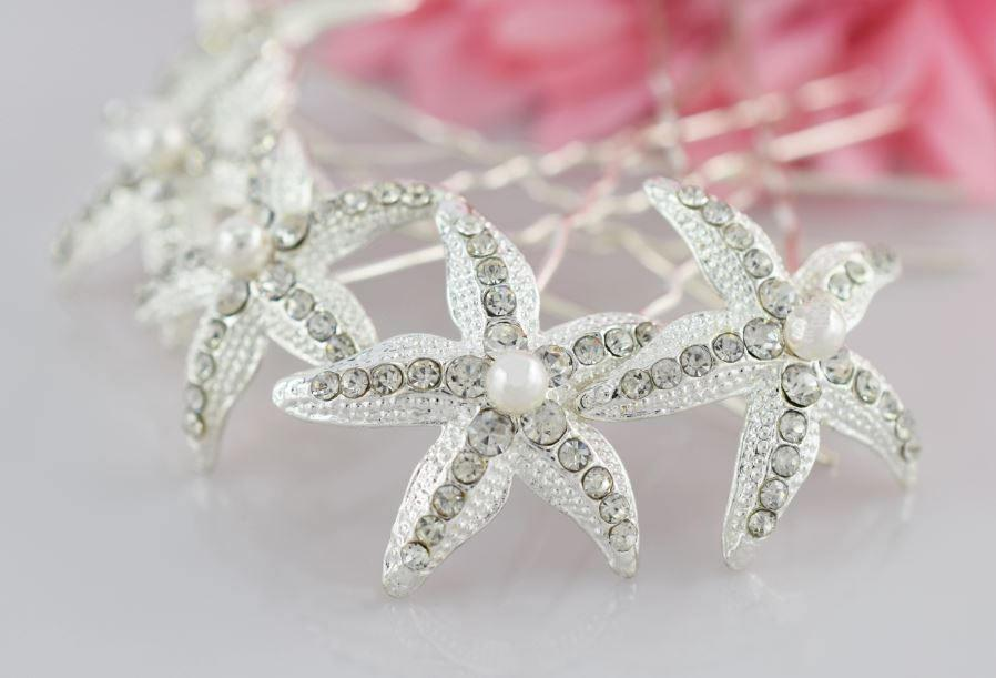 زفاف - Starfish Hair Pins, Wedding Hair Pins, Wedding Hair Pins, Swarovski Pearls, Rhinestone Hair Pins, Crystal Hair Pin,  Bridal Hair Pins
