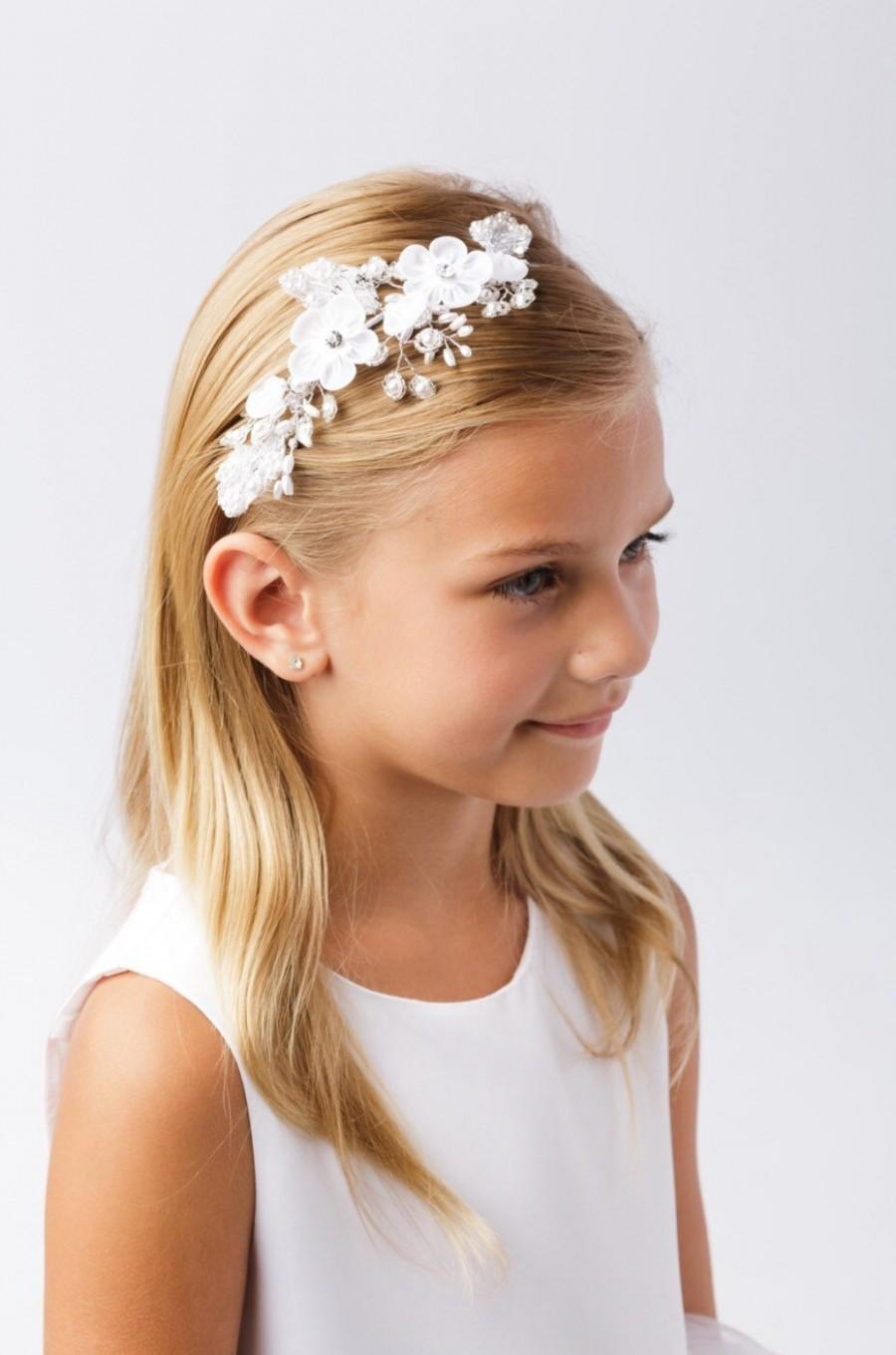 زفاف - Flower girl headband bride hair piece mini bride baptism first communion hairpiece accessory flower crown white classic simple