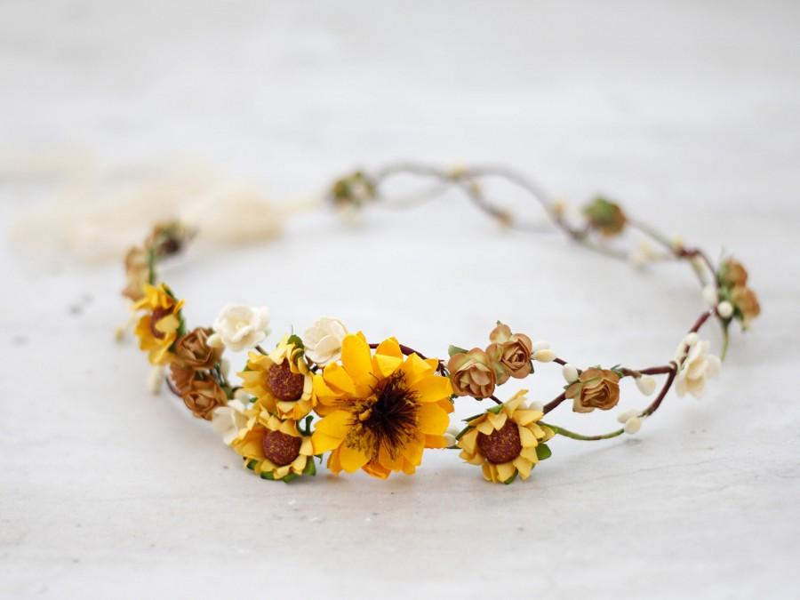 زفاف - Sunflower Flower Crown, Sunflower Bridal Headpiece, Yellow Flower Crown, Flower Girl Crown, Sunflower Halo