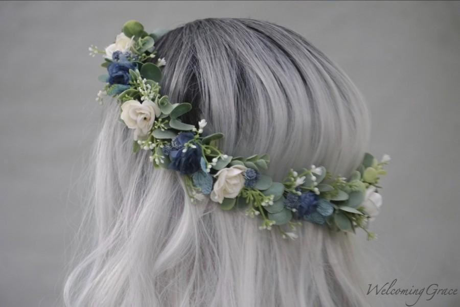 زفاف - Navy flower crown, blue and ivory flower crown, bridal flower crown, holiday floral crown, navy flower headband