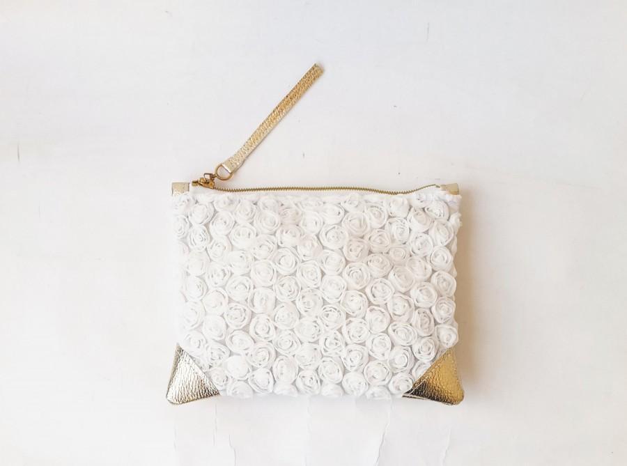 Свадьба - Bridesmaids clutch bag wedding clutch floral wedding bag lace bridal clutch gold leather wedding clutch gold and off white roses clutch bag