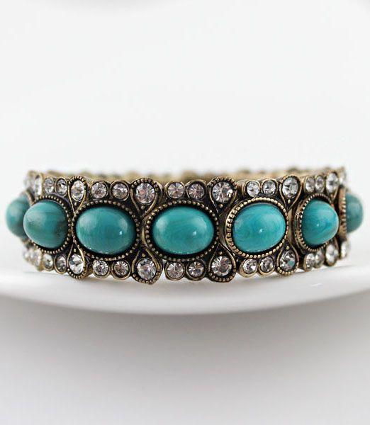 Свадьба - Green Gemstone Retro Gold Crystal Bracelet