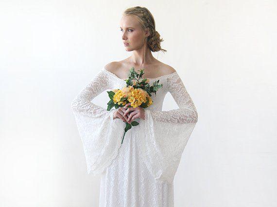 Long Bell Sleeve Dress Bell Sleeve Wedding Dress Off Shoulder