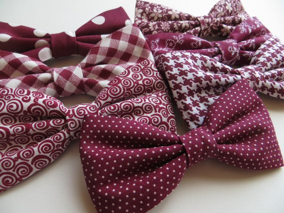Mariage - Red Burgundy Bow Tie, Mismatch Bow Tie, Burgundy Bow Tie, Ring Bearer Outfit, Wedding Bow Ties