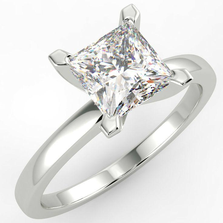 Wedding - Engagement Rings From Ebay UK - #engagementrings #rings 1 Ct Princess Cut VS2/E Solitaire Diamond Engagement Ring 14K White Gold - 0.…