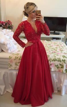 Hochzeit - Günstiges Langes Rotes Satin Spitze Ballkleid Abendkleid-queeniekleid.de