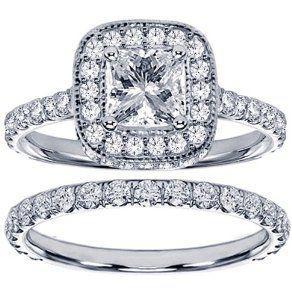 Hochzeit - 2.42 CT TW Pave Set Diamond Encrusted Princess Cut Engagement Ring Bridal Set In 14k White Gold - Size 12.  List Price: $10,797.00  Savings:…