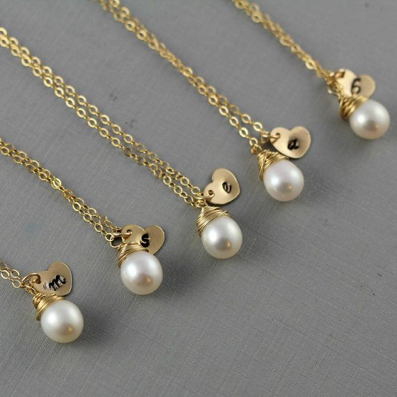 Wedding - Perfect Bridesmaids' Gifts!  Personalized Initial Heart Charms With Freshwater Pearls On Gold Chains