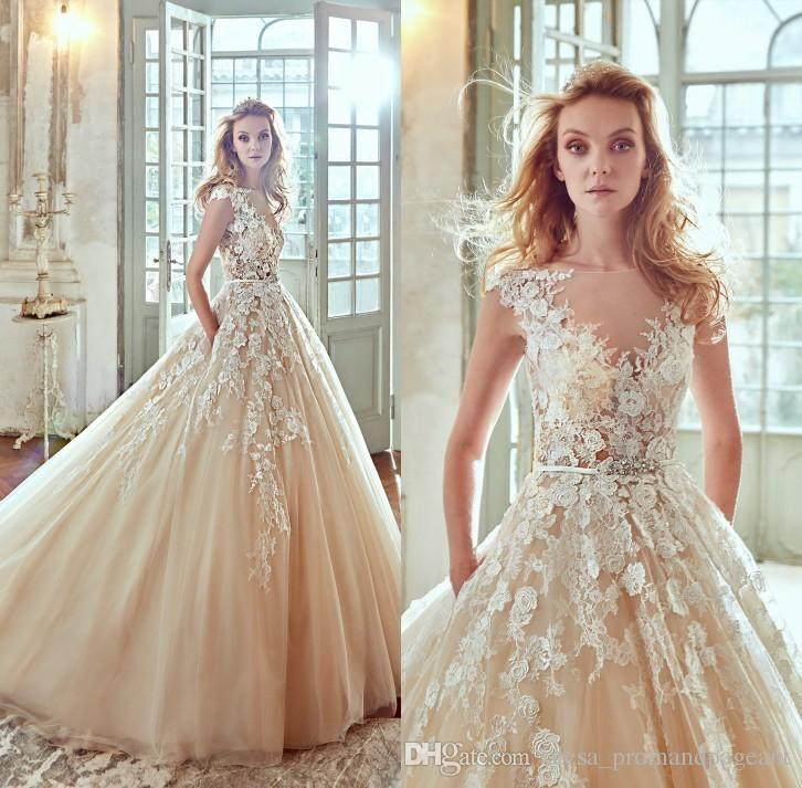 Mariage - Nicole Spose 2017 Champagne 3d Floral Appliques Wedding Dresses A Line Sheer Neck Cap Sleeve Court Train Tulle Bridal Gowns Wit…