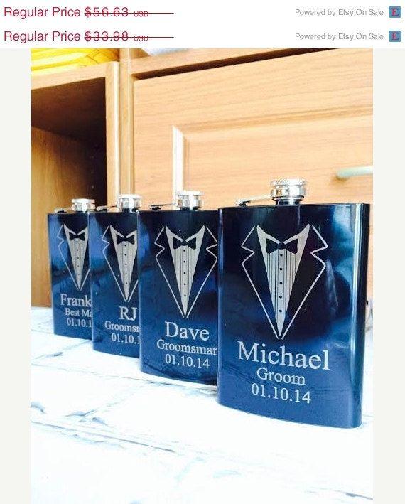 Hochzeit - 10% OFF SALE Set Of 3 Engraved Flasks, Personalized Groomsmen Gift,, Black Engraved Flasks,8 Oz. Hip Flask