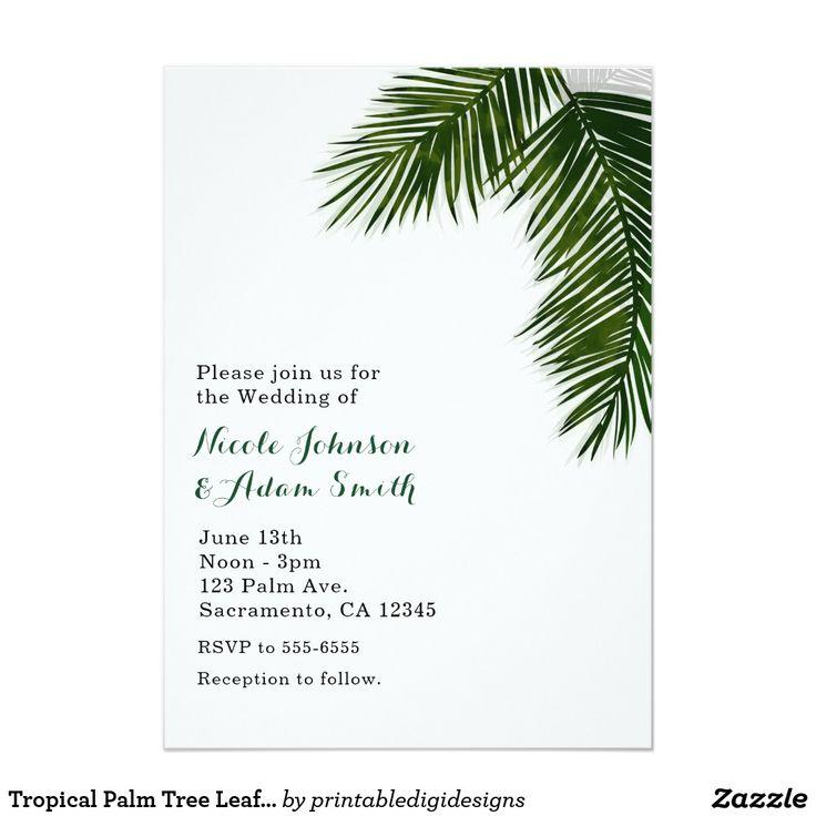 Свадьба - Tropical Palm Tree Leaf Elegant Wedding Invitation