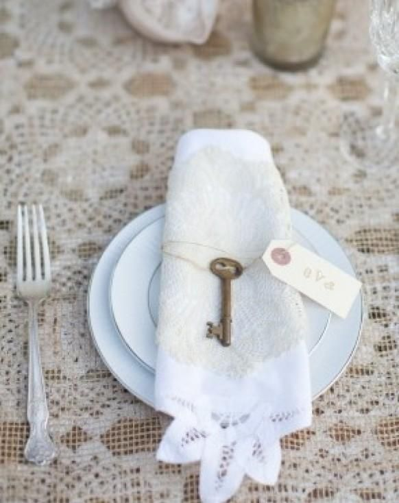 Wedding - Add Vintage Key To Lace Trim Napkin Table Top Decor Place Settings At Wedding Reception Or Shower.  For Ideas And Goods Shop At …