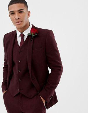Wedding - ASOS DESIGN Wedding Skinny Suit Jacket In Burgundy Wool Mix Herringbone