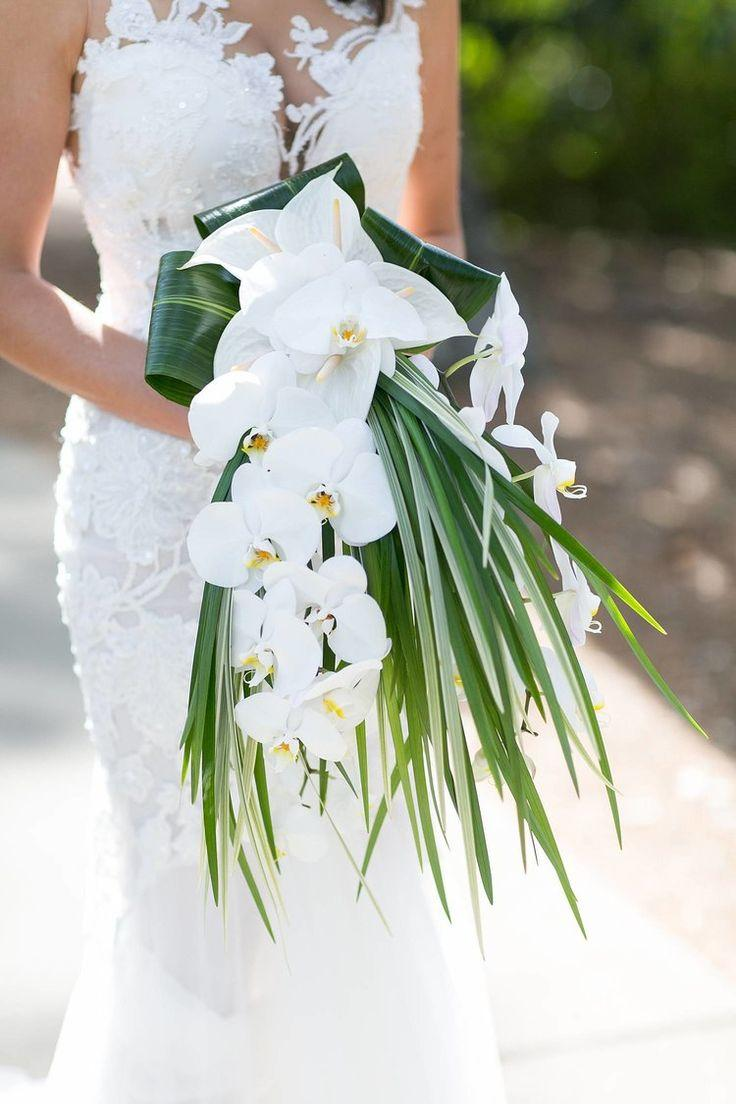 Wedding - Tropical Wedding Bride Bouquet. White Orchids And Palms. Event Design & Coordination By Greg Boulus Events, Based …