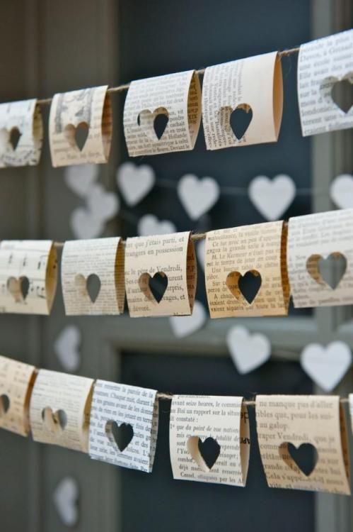 Wedding - Unique Paper Heart Cutouts For A Pretty Book Page Garland. #valentines_day