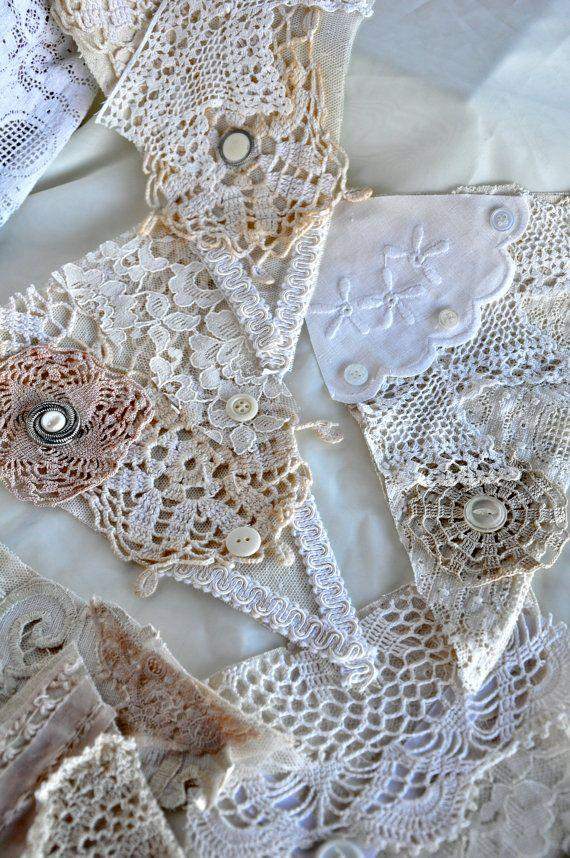 Wedding - Vintage Lace And Linen Bunting -5 Flags 4ft Wide- Wedding -Shabby Chic Decor- Window Valance -photo Booth Prop
