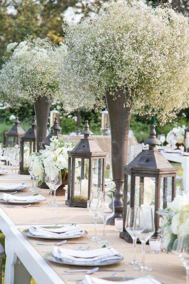 Mariage - The Most Heavenly Baby's Breath Centerpieces. Courtesy Of Stephanie Hogue Photography