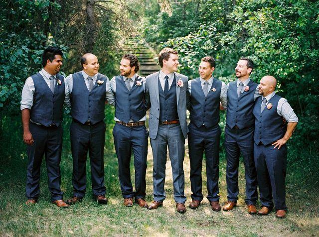 Mariage - Blue And Grey Groomsmen Outfits. Vests Only. Brown And Blue Groomsmen Suits
