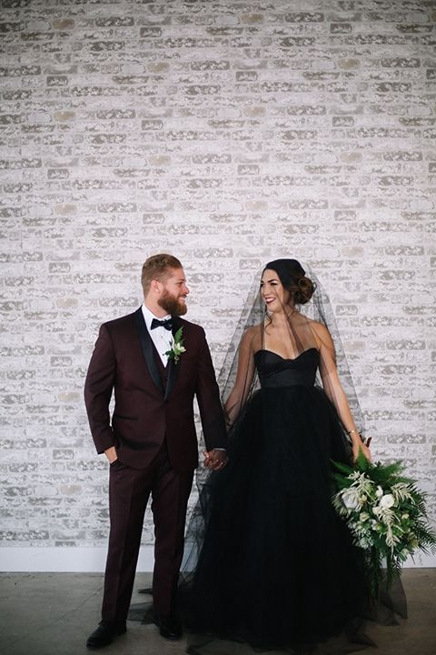 Hochzeit - Industrial Styled Wedding Shoot At Gray Matter Museum Bride Strapless Black Tulle Ball Gown With A Sweetheart Neckline And Groom Burgundy T…